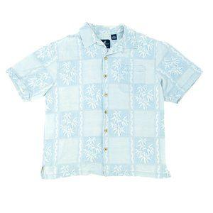 Caribbean Joe Men's Button Shirt Hawaiian Blue (M)